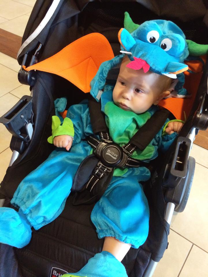baby dragon costume in stroller
