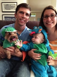dragon baby costume and dog
