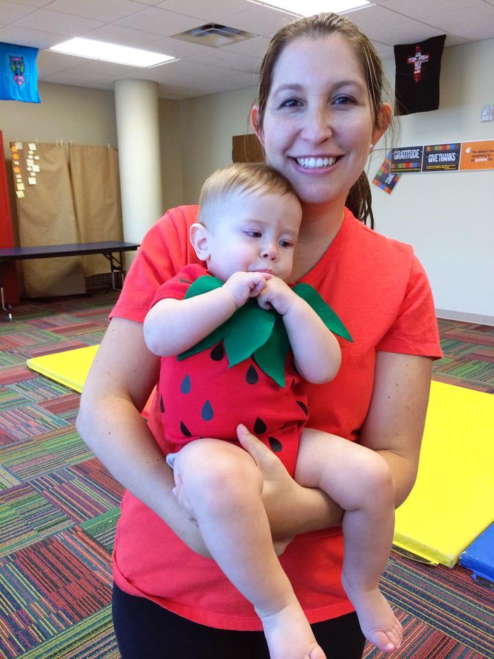 homemade baby strawberry costume