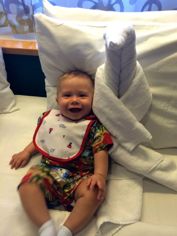 cruising infant with towel animal