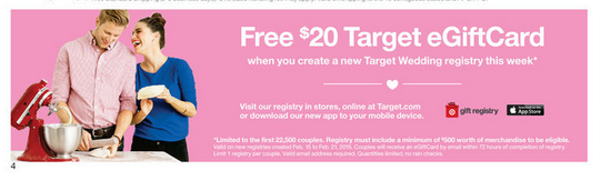 $20 Target eGiftcard with Wedding Registry