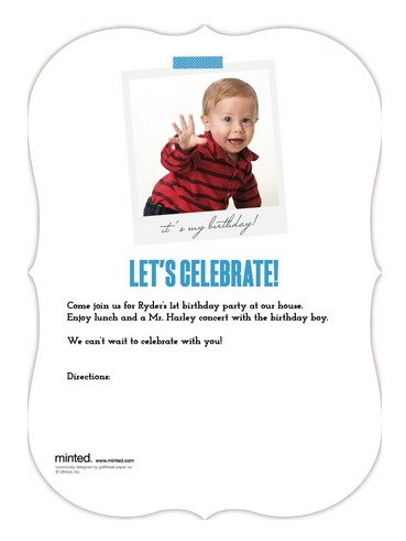 1st Birthday Invitation Back