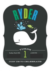 1st Birthday Whale Invitations