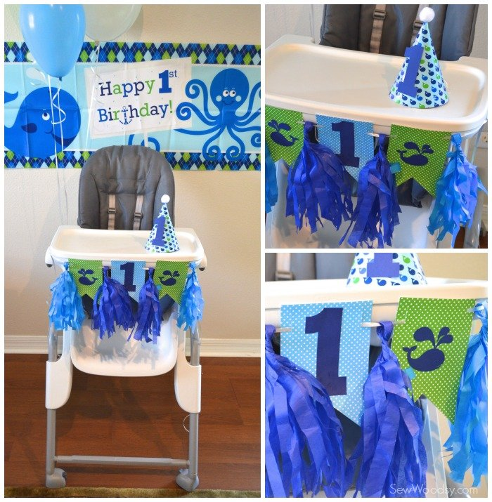 1st Birthday highchair decor