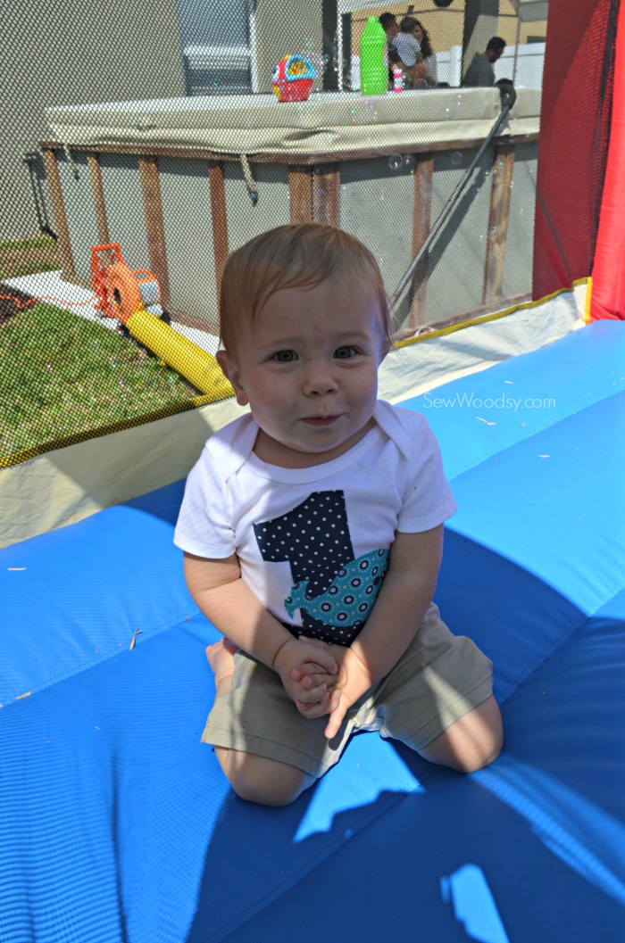 Baby in bounce house