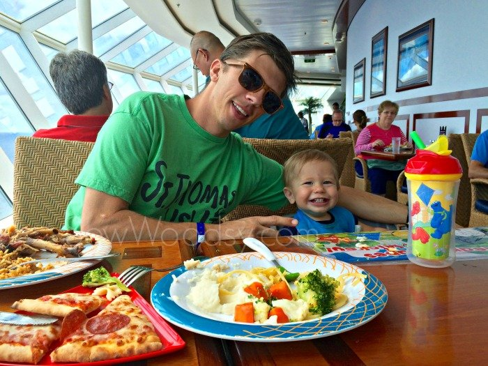 Father and Son eating lunch on a cruise ship