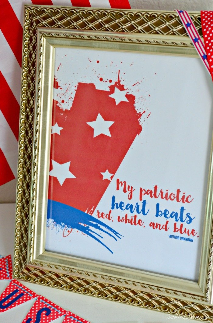 My Patriotic Heart Beats Red, White, and Blue Printable
