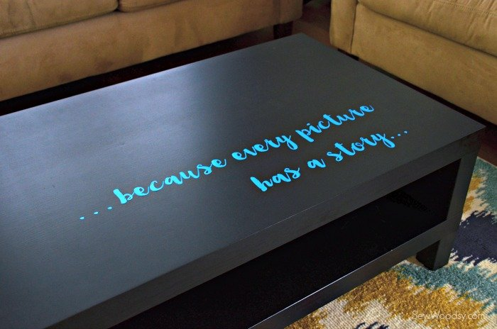Because Every Picture Has A Story Vinyl on Coffee Table #snapfishbloggers #ad