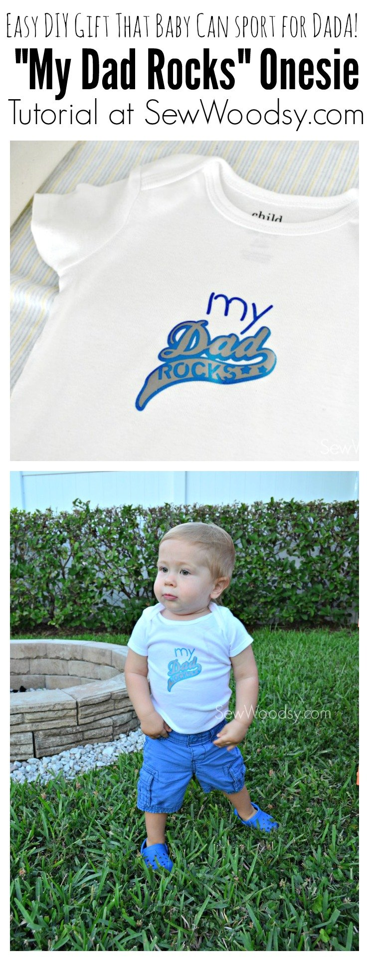 My Dad Rocks Onesie - easy DIY project that baby can wear to honor dad!