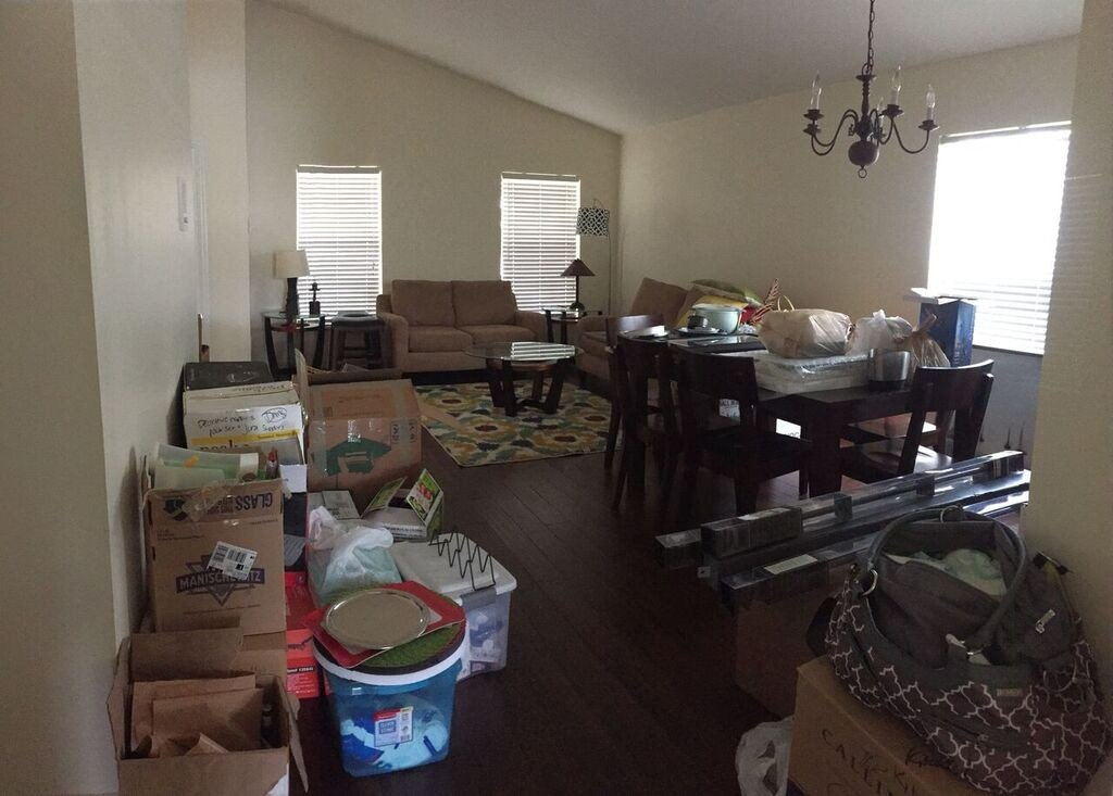 current view of the living and dining room