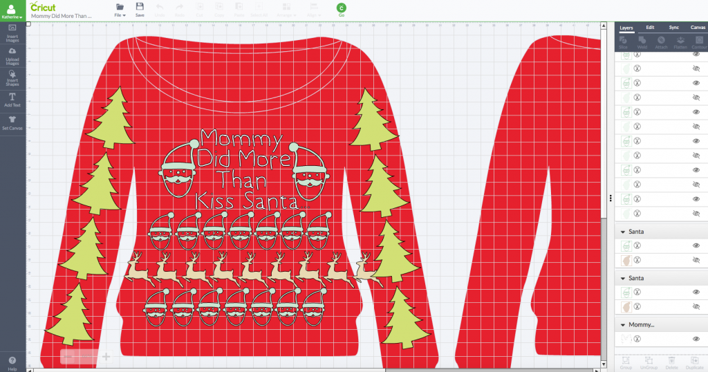 Maternity Pretty Ugly Christmas Sweater in Cricut Design Space