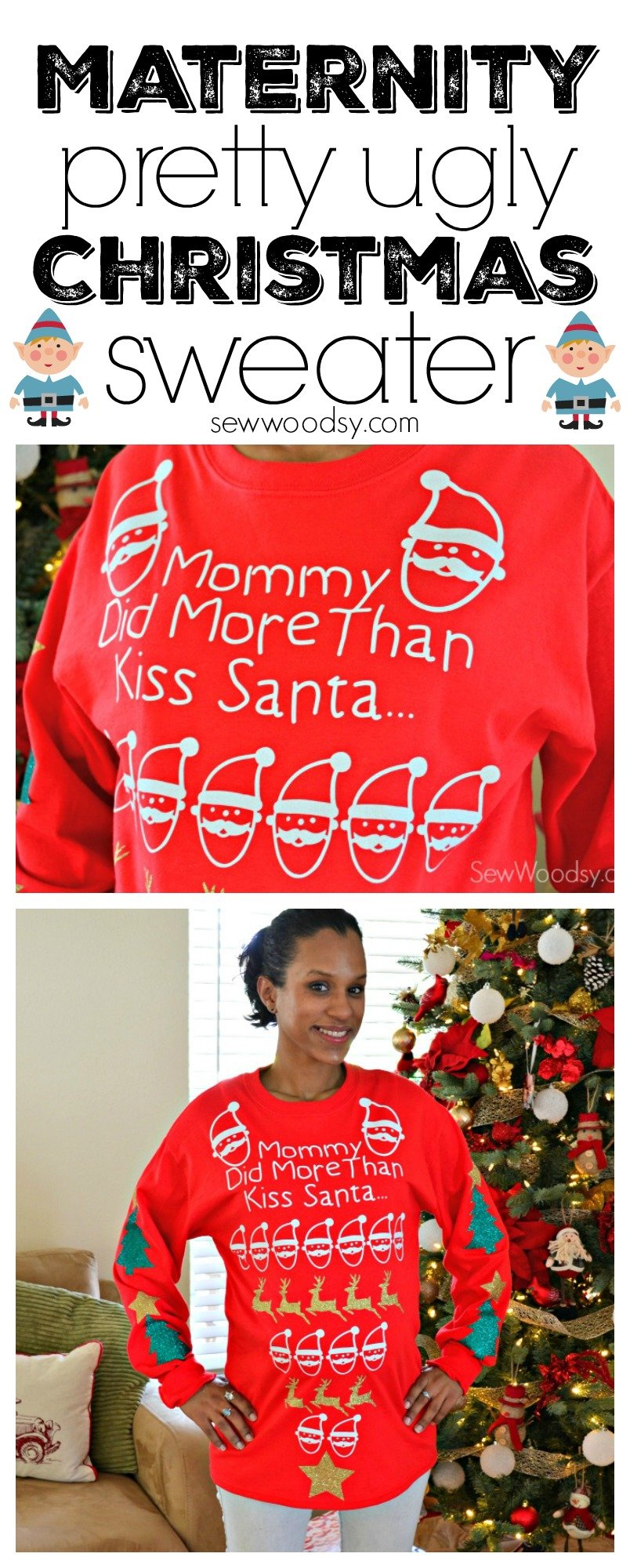 Maternity Pretty Ugly Christmas Sweater Sew Woodsy