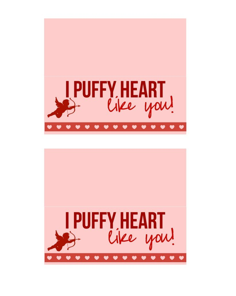 I puffy heart like you goodie bag tags