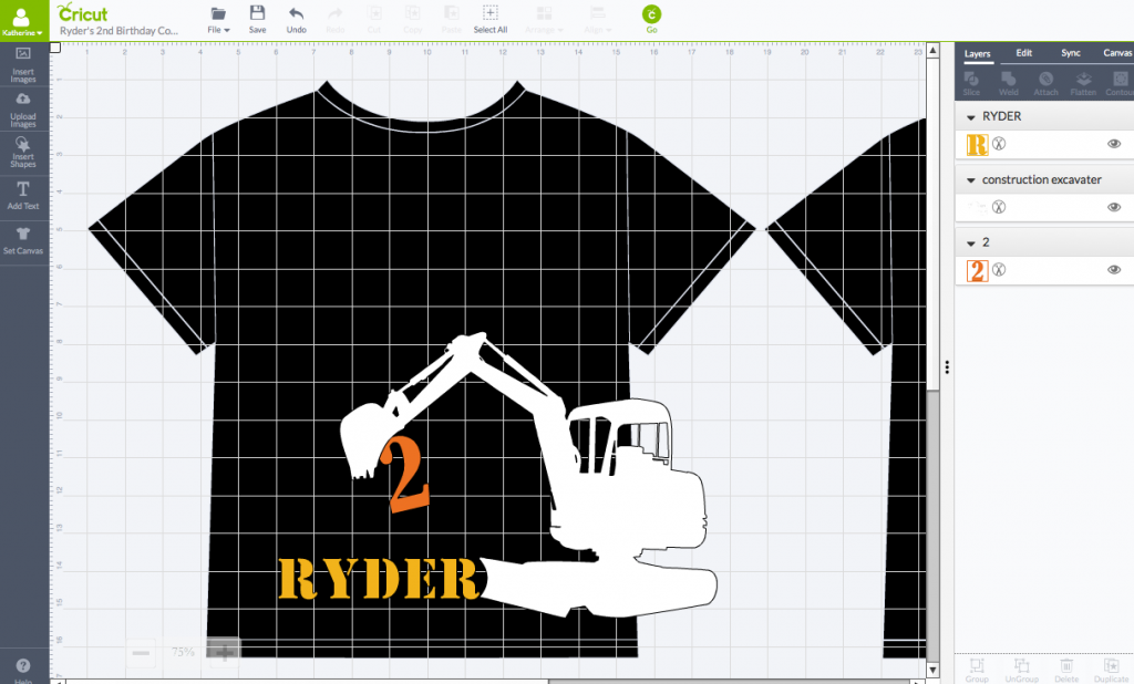 2nd Birthday Construction Shirt - Cricut Design Space Screen Shot