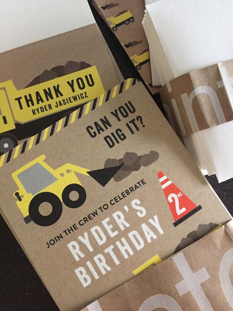 Construction Birthday Invitations Sew Woodsy