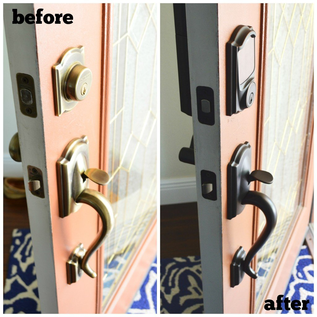 It Didn T Take Long For Nicole Of Haute Style To Find The Perfect Deadbolt And Handleset Her Friend Nykia S Front Door Makeover