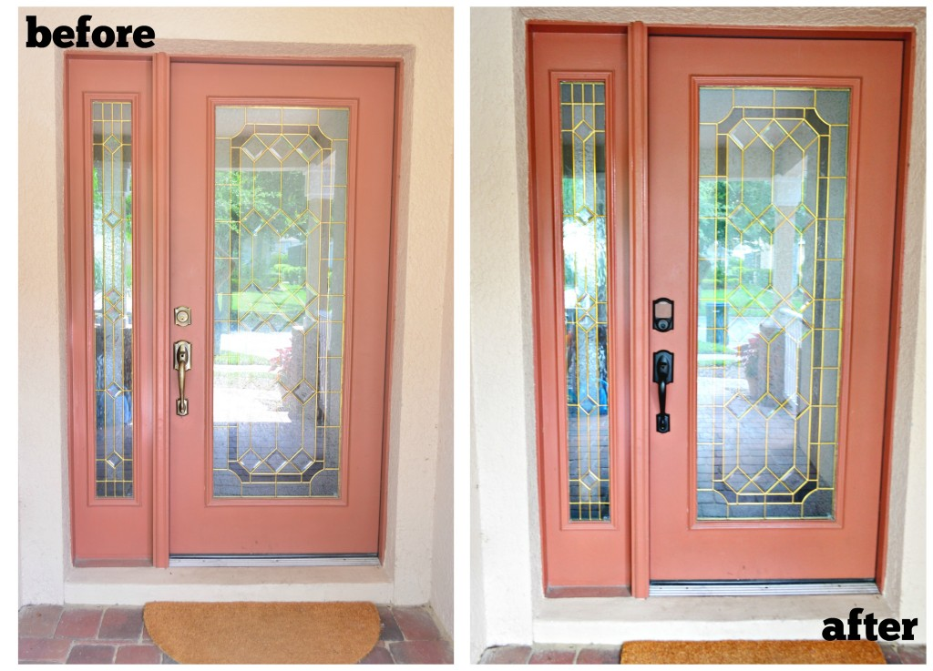 Before and After Front Door with Schlage Sense