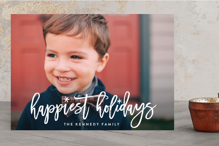 Fun Holiday Script Holiday Photo Cards