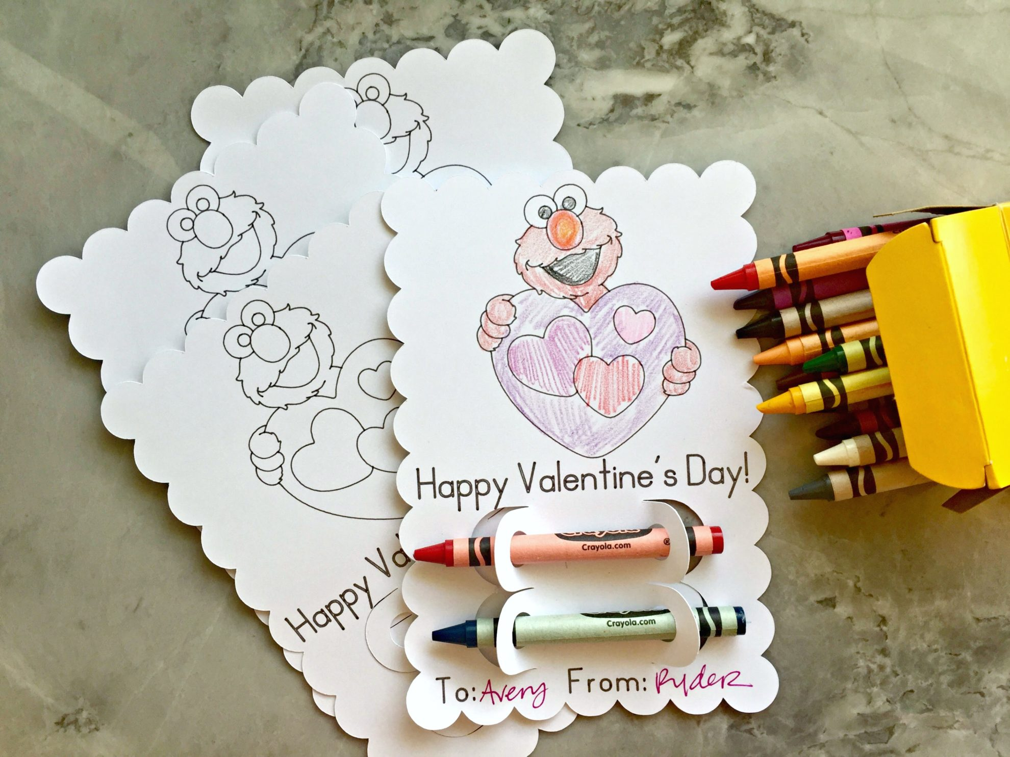 DIY Elmo Coloring Valentine
