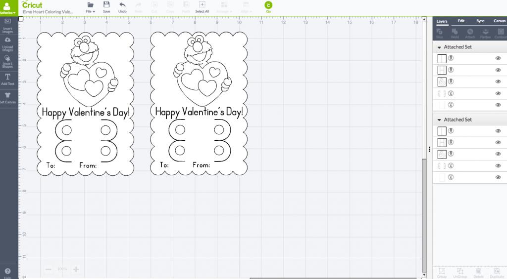 Elmo Coloring Valentine