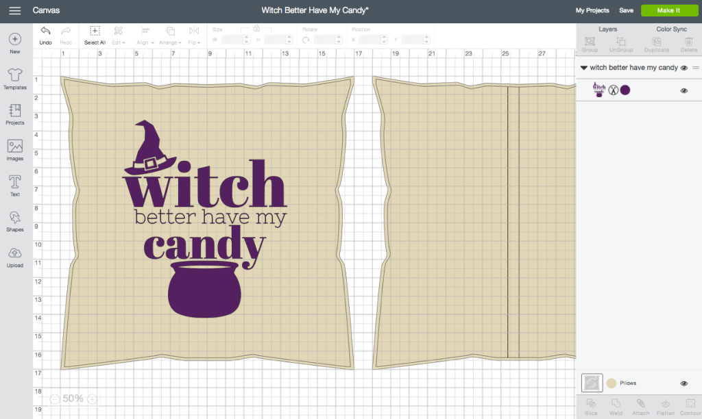 """Witch Better Have My Candy"" Halloween Pillow - ScreenShot Cricut Design Space"