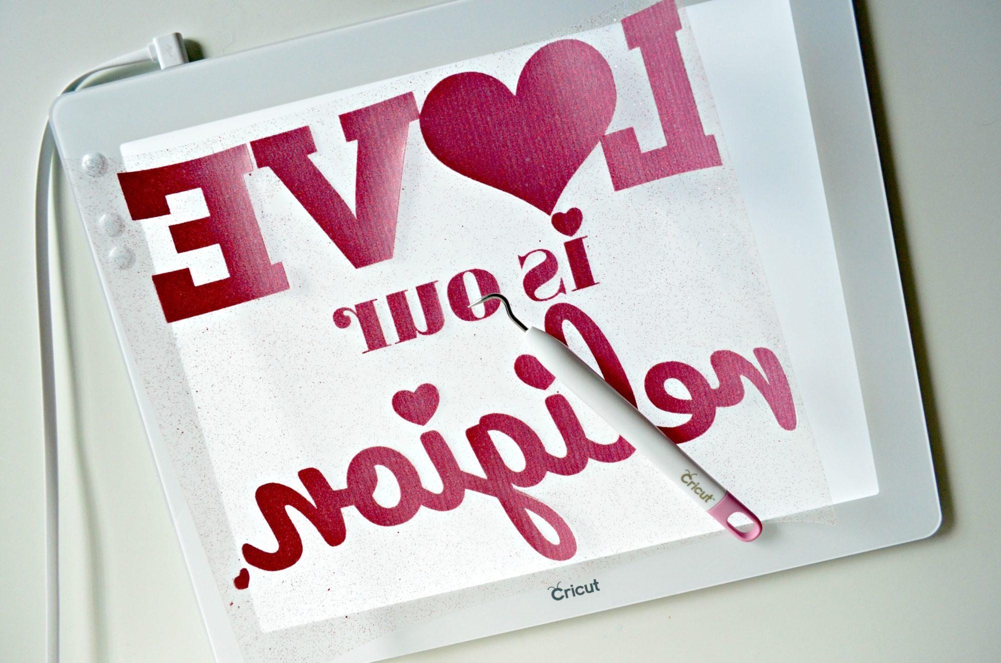 Love is my Religion Pillow - Cricut BrightPad