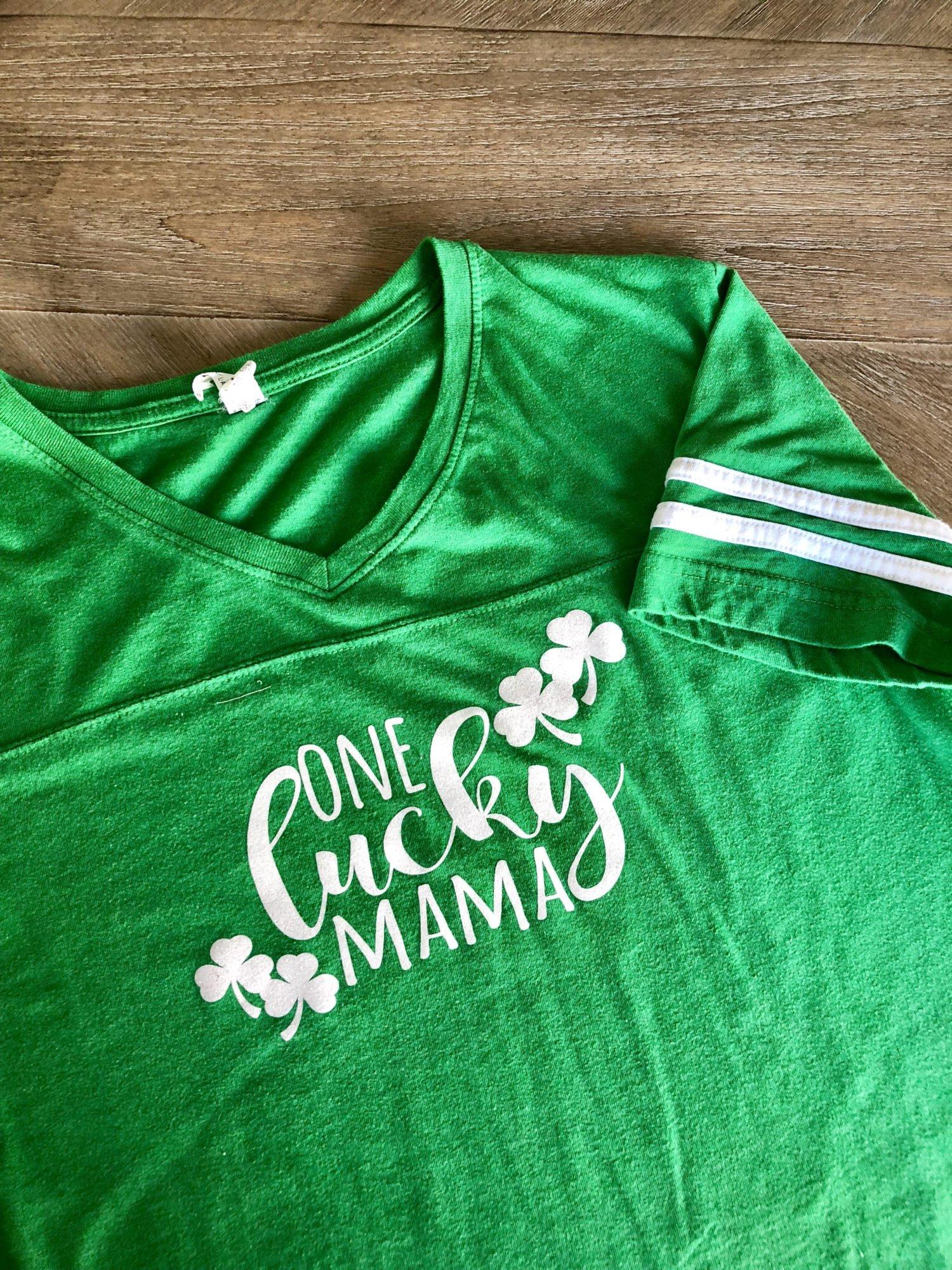 "DIY ""One Lucky Mama"" Iron-On Shirt"
