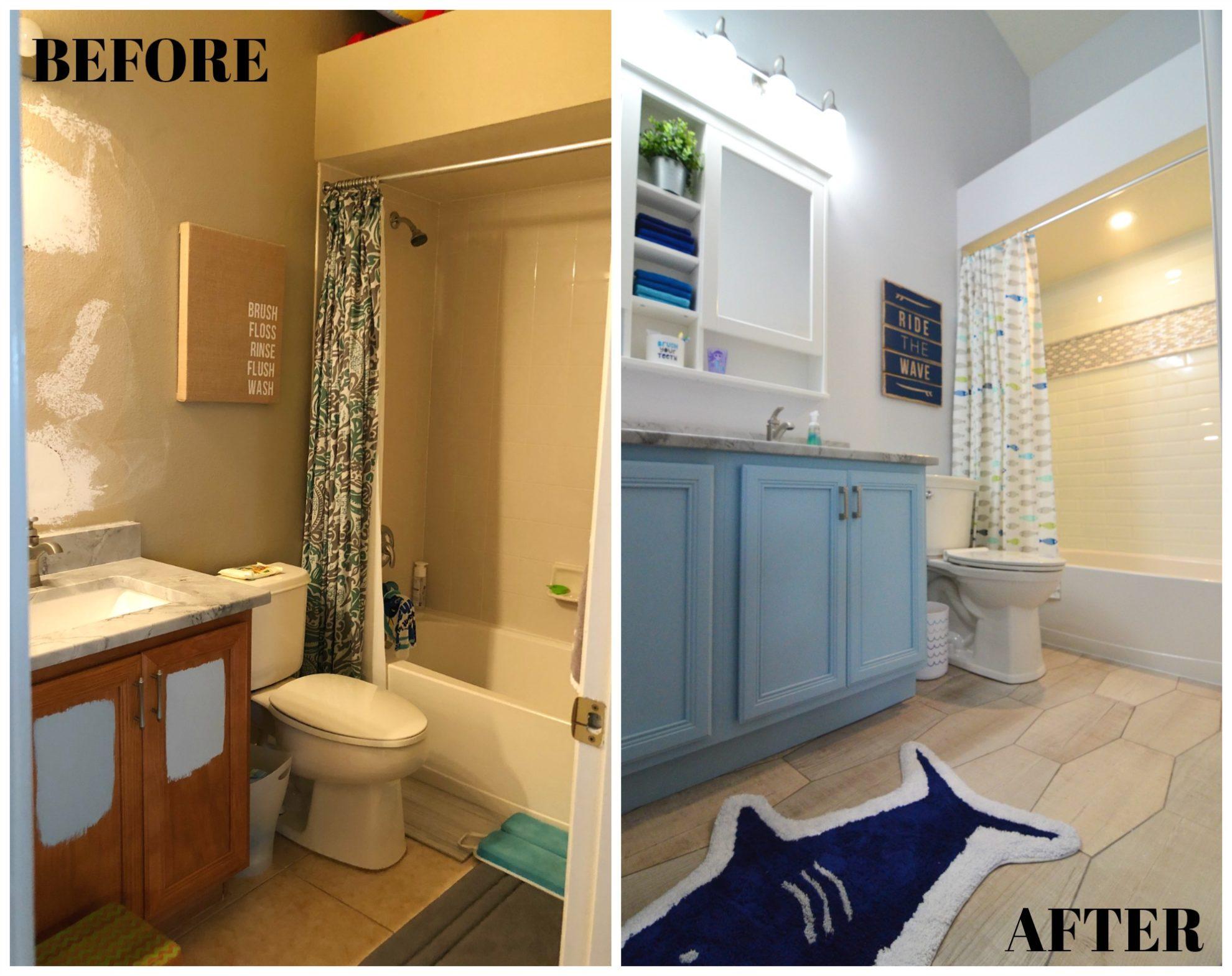 Kids Bathroom Renovation BEFORE & AFTER Bathroom Tile Floor and Shower