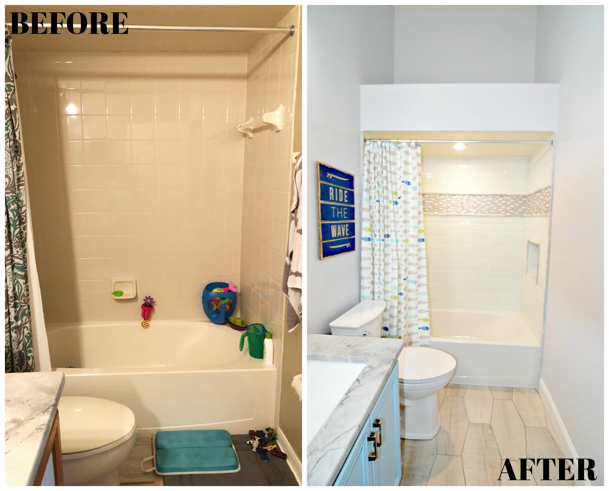 Kids Bathroom Renovation BEFORE & AFTER Bathroom Tile Floor and Shower