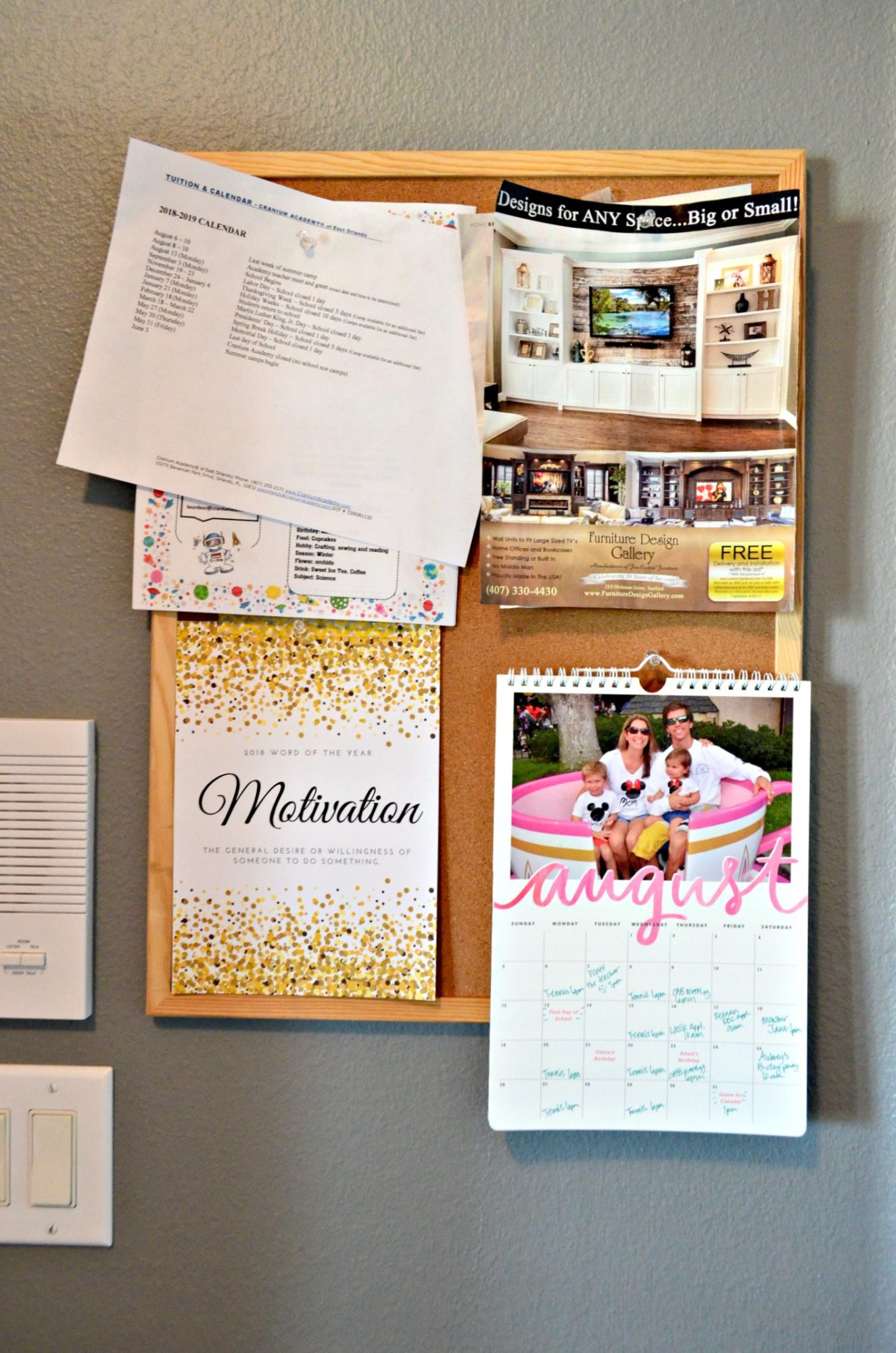 Minted Calendar on Bulletin Board