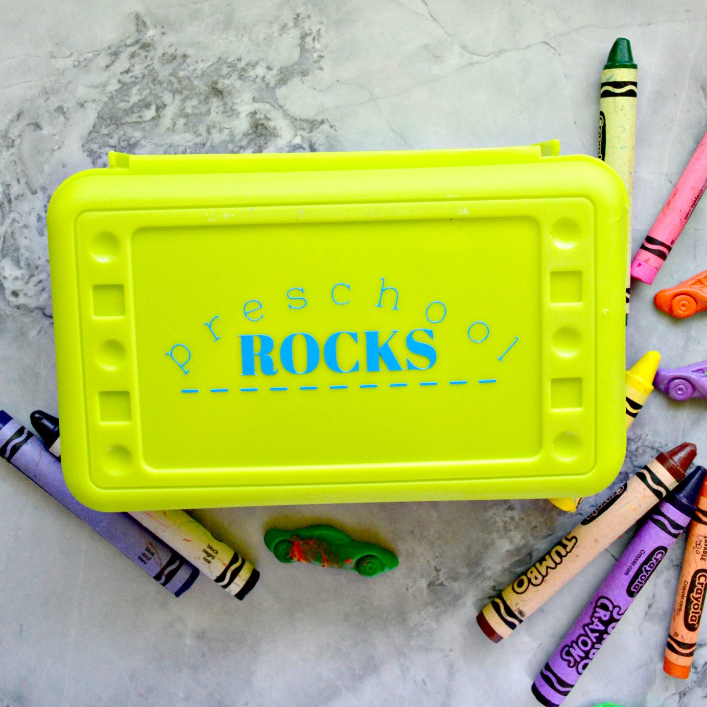 Preschool Rocks Custom Crayon Box
