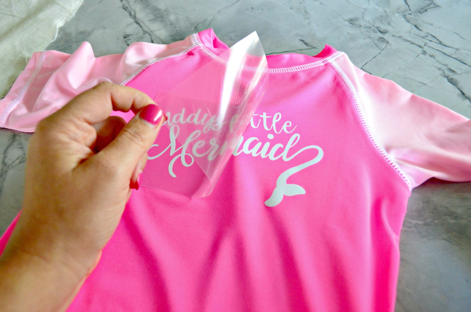DIY Daddy's Little Mermaid Rash Guard Made with Cricut Maker Peeling HTV Film
