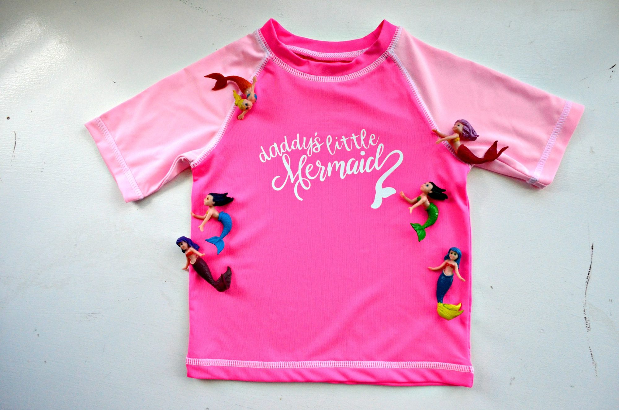 DIY Daddy's Little Mermaid Rash Guard Made with Cricut Maker and EasyPress2