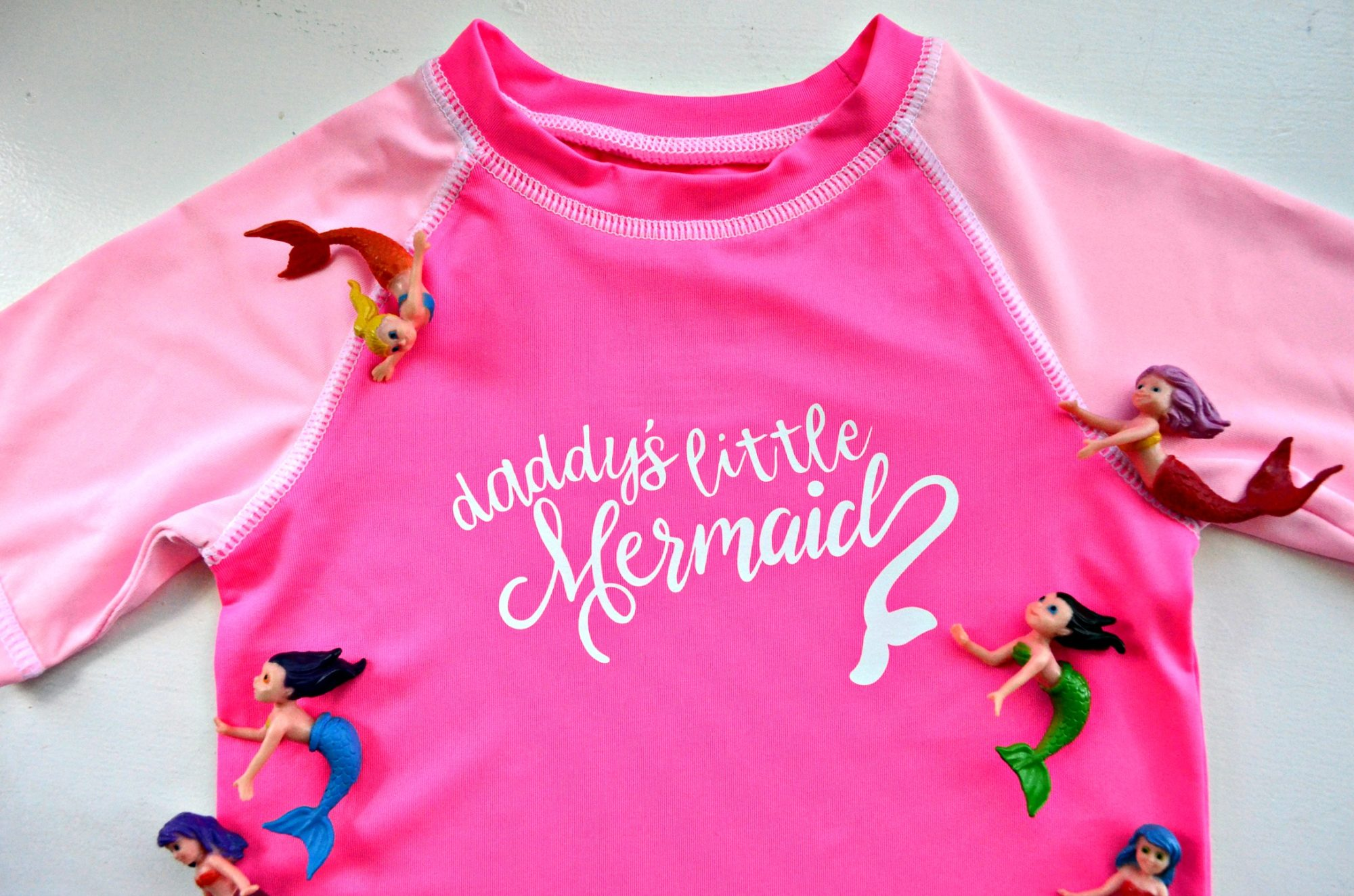 DIY Daddy's Little Mermaid Rash Guard Made with the Cricut Maker