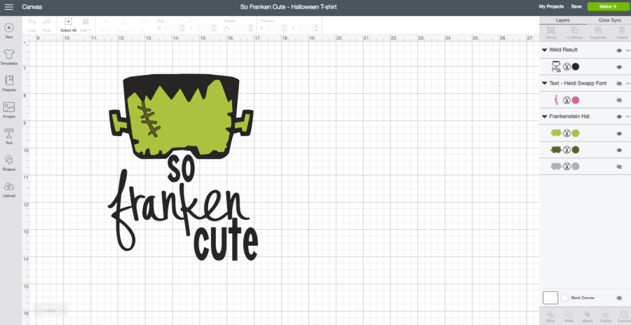 So Franken Cute - DIY Halloween T-Shirt Cricut Design Space Screen Shot