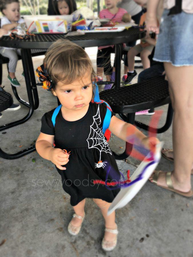 Toddler Girls DIY Spider Web Dress at park