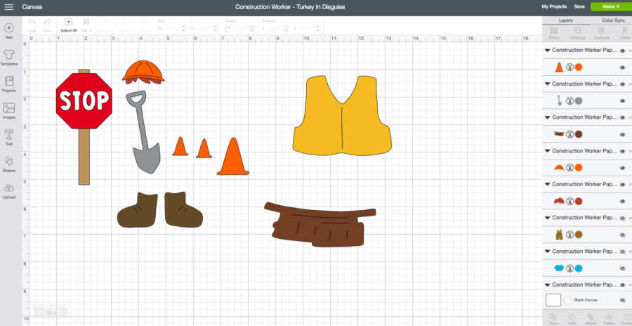 Construction Worker Turkey in Disguise Cricut Design Space Screenshot