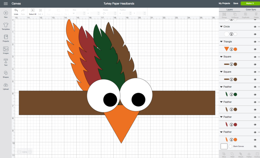 Turkey Headband Cricut Design Space Screenshot
