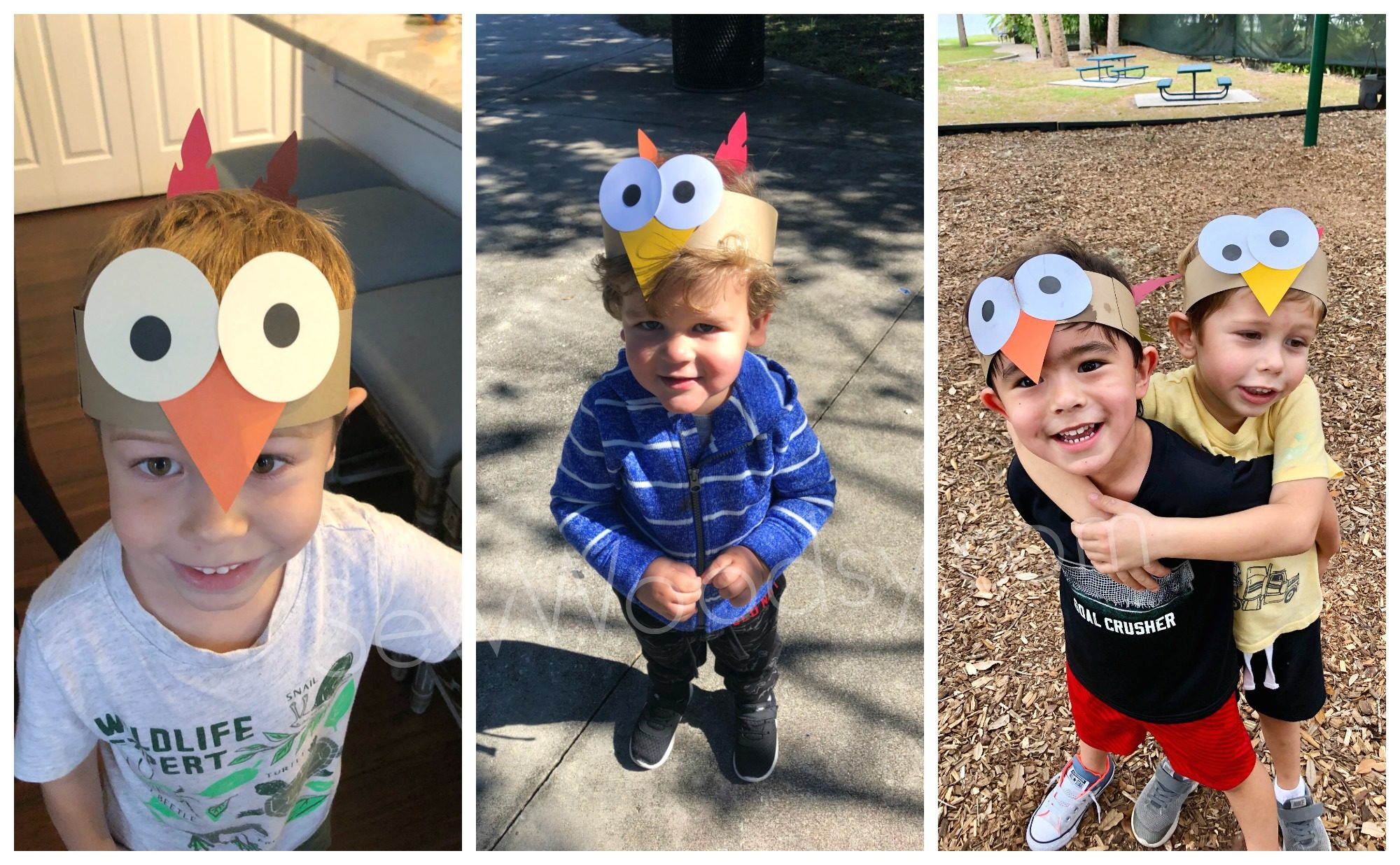 Turkey Paper Headbands on Toddlers and Kids