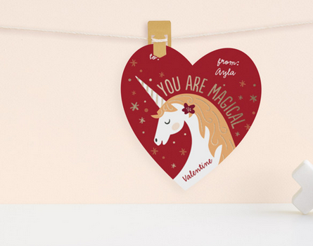 Magical Unicorn Valentine with heart shape from Minted