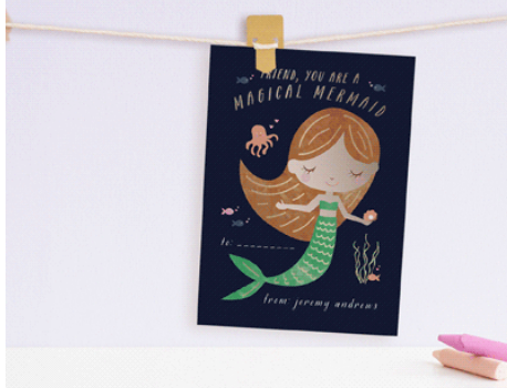 magical mermaid valentine from minted
