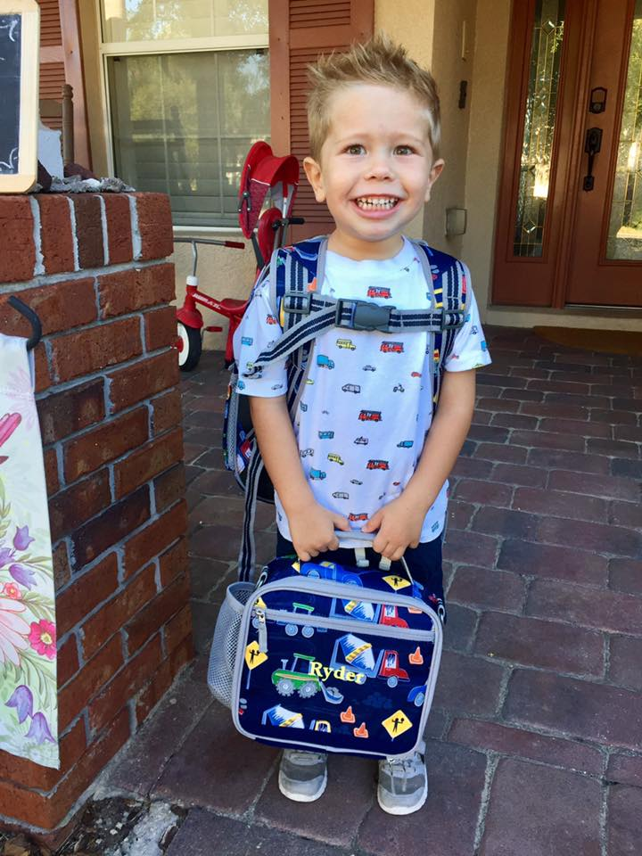 Toddler going to school