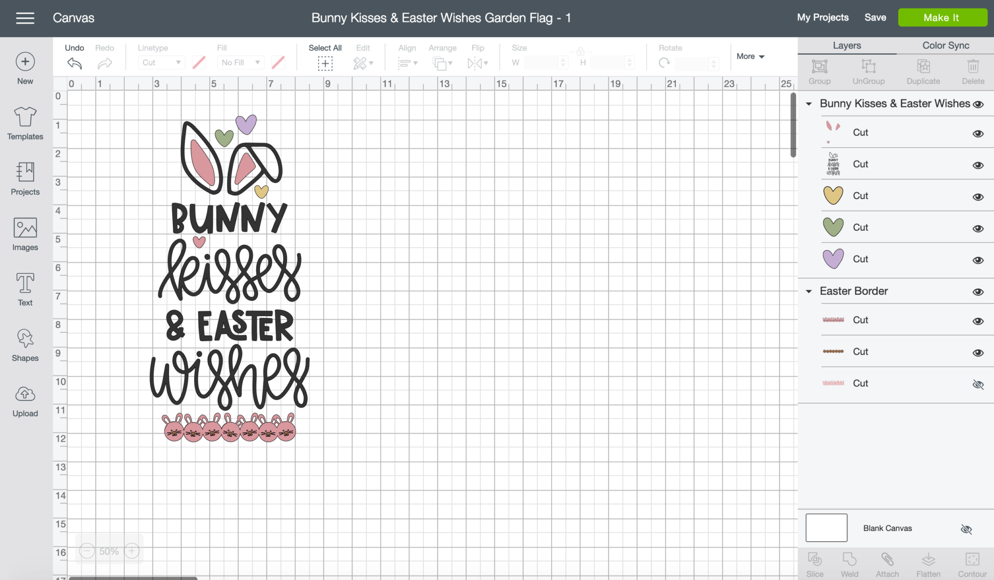 Bunny Kisses & Easter Wishes Burlap Garden Flag Screen shot in Cricut Design Space.