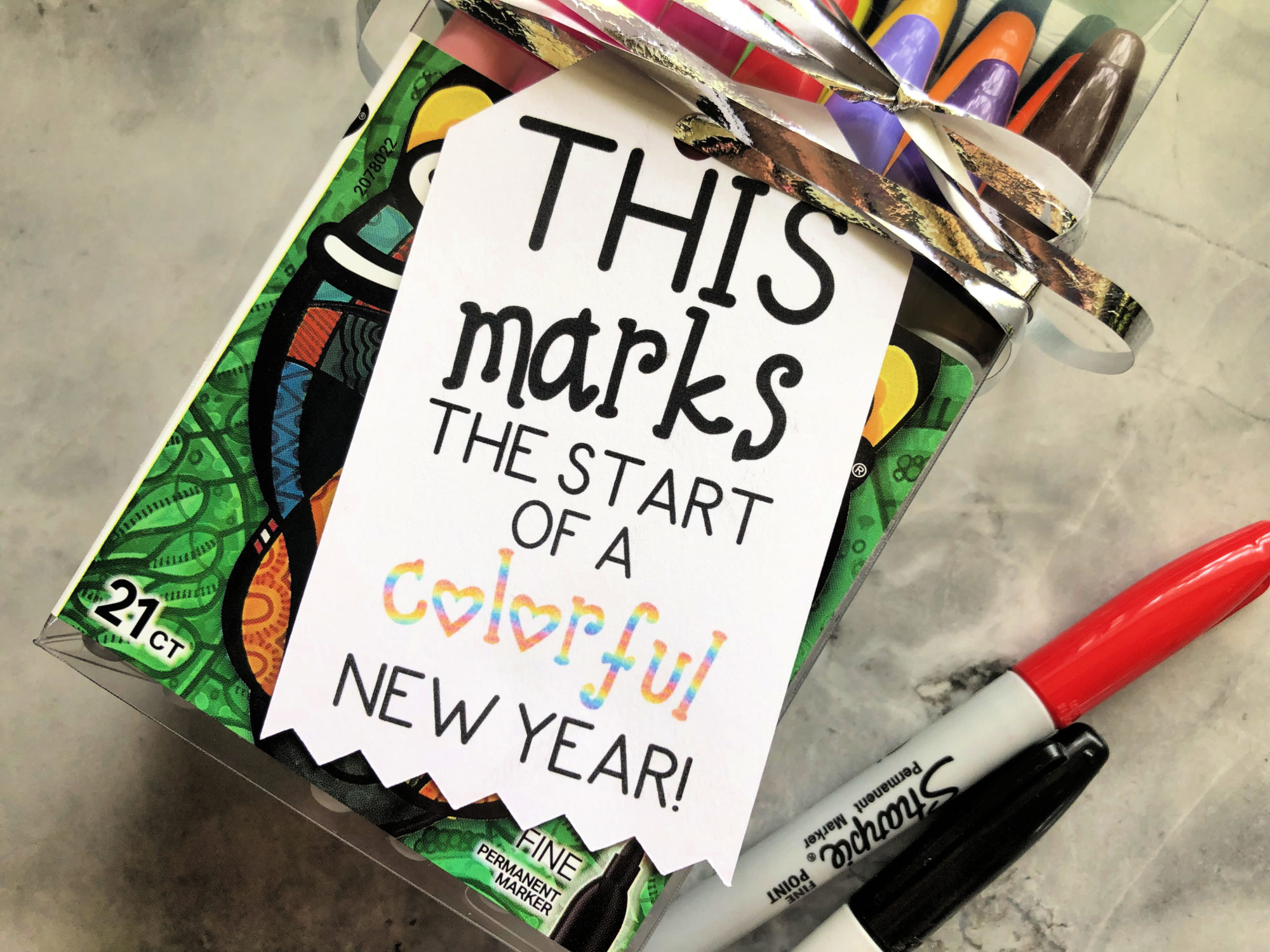 "Back To School ""Colorful New Year"" Gift Tag"