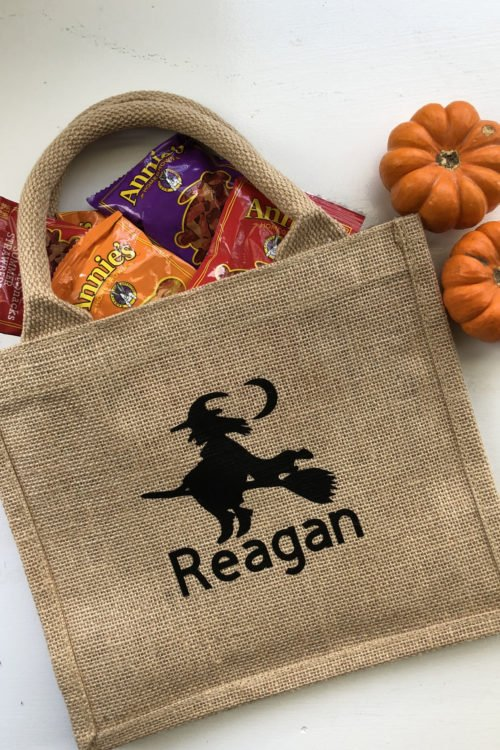 Burlap Trick or Treat Bag with Name