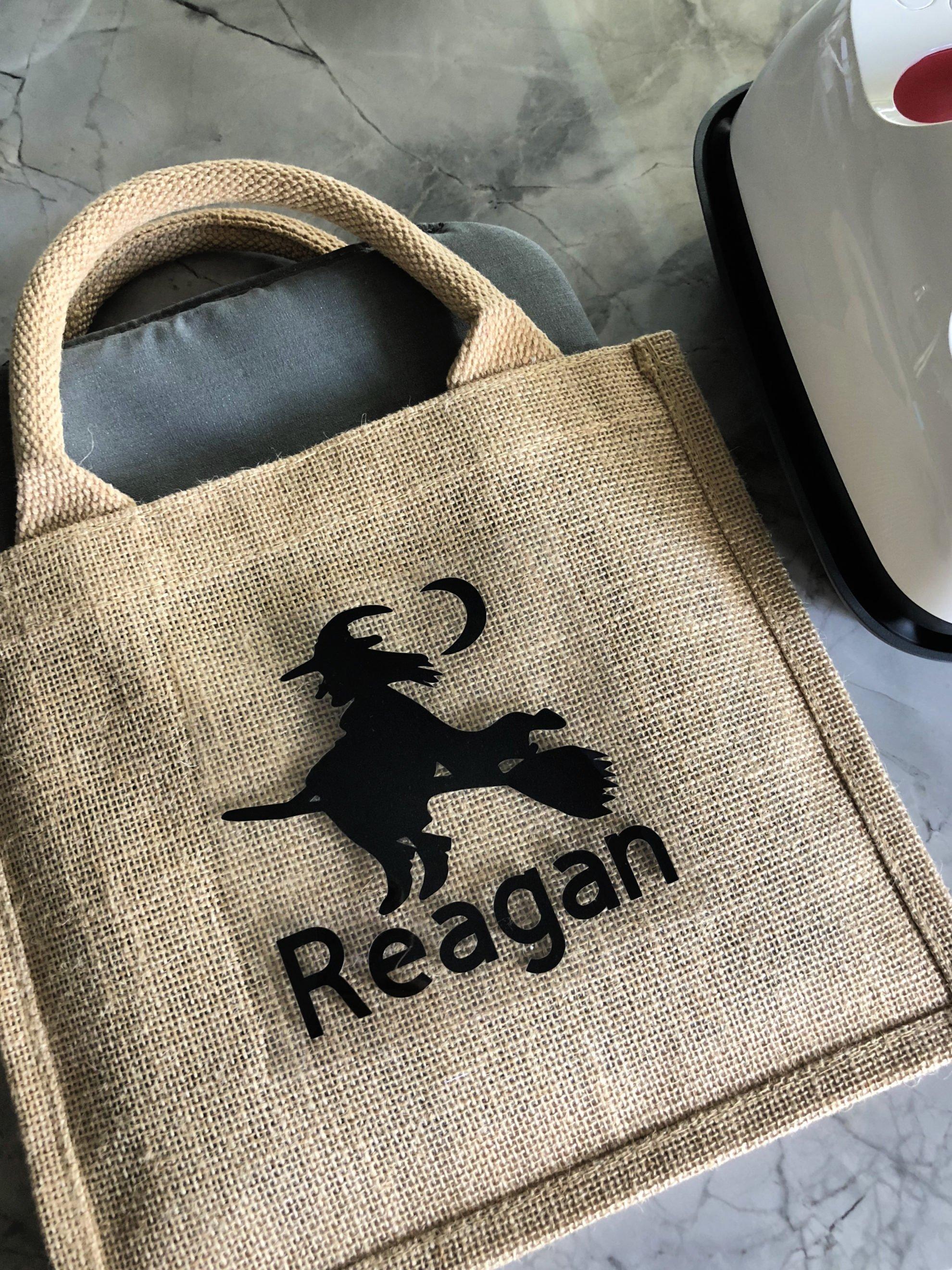 Personalized Burlap Trick or Treat Bag using Cricut Iron-On Vinyl