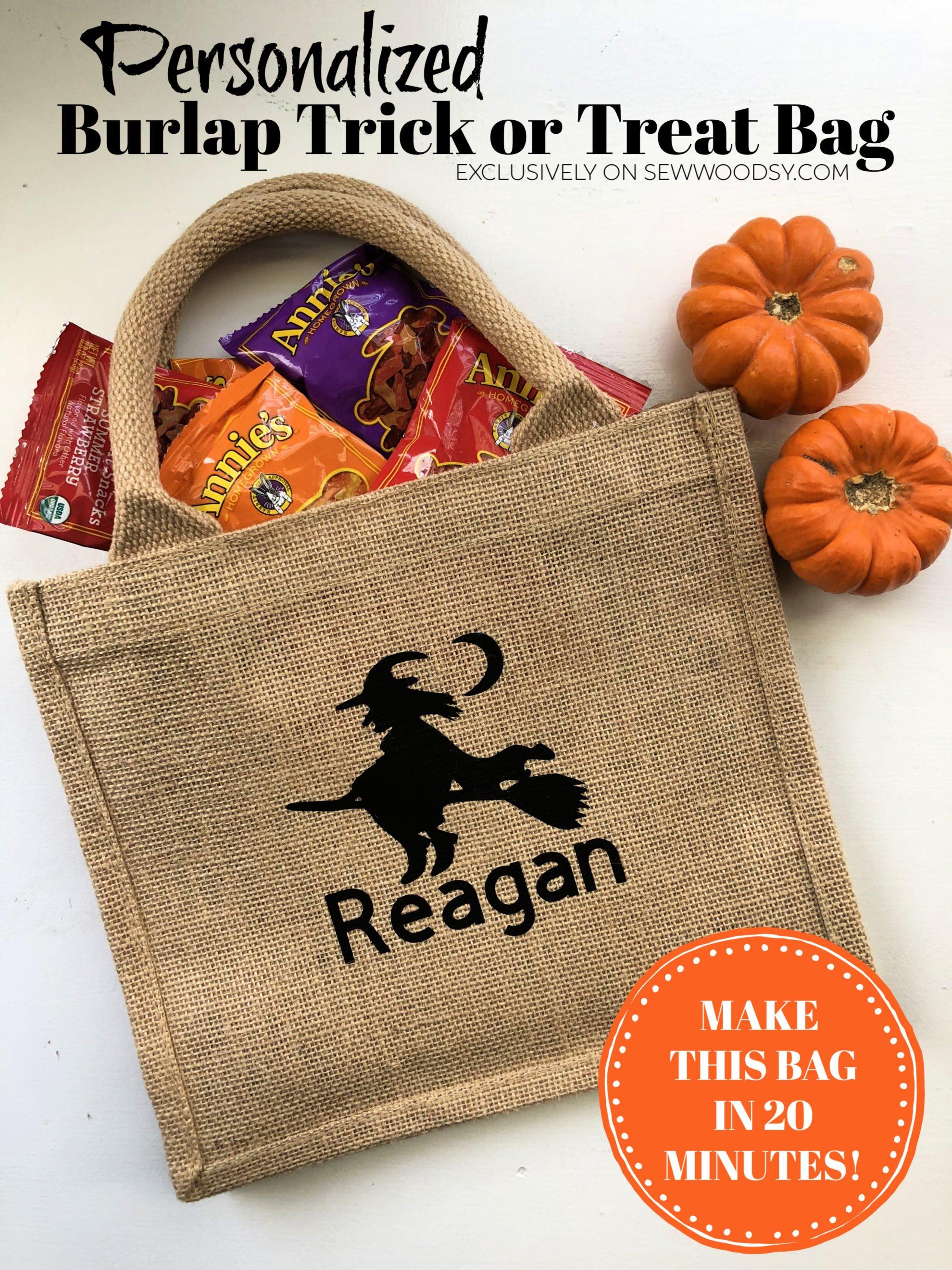Personalized Burlap Trick or Treat Bag