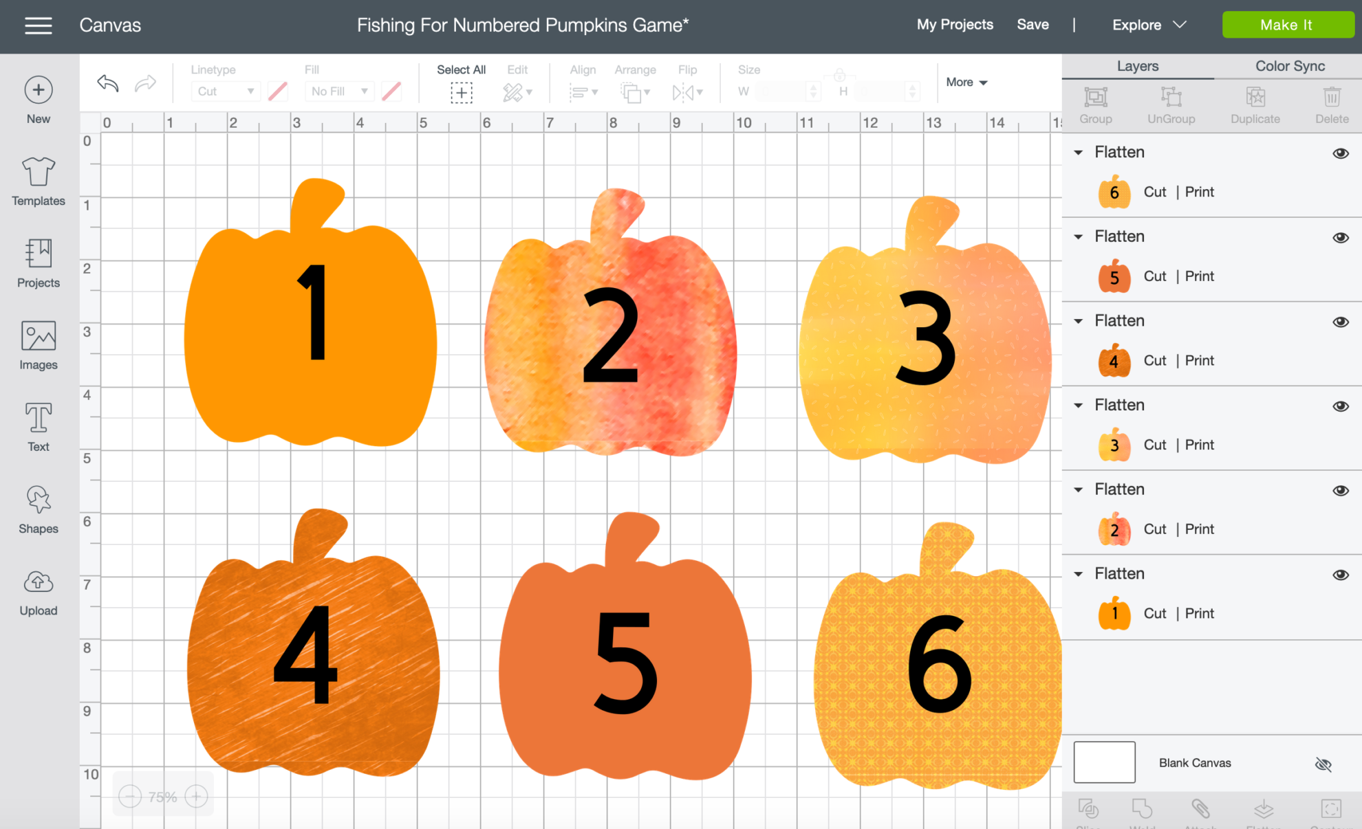 DIY Fishing for Numbered Pumpkins Game Cricut Design Space FREE Cut File