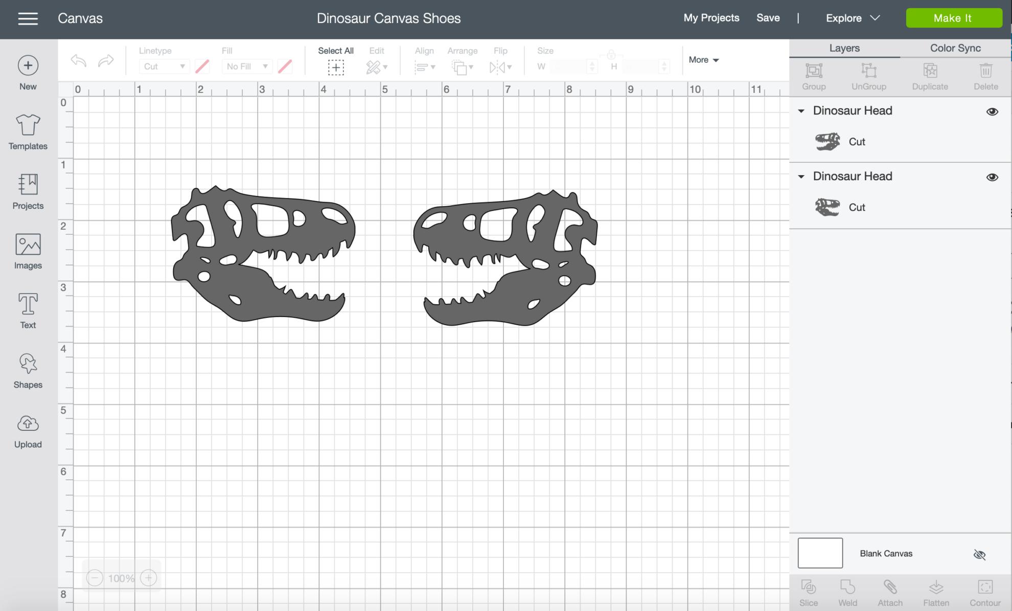 Dinosaur Canvas Shoes file for Cricut Design Space